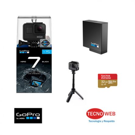 Camara GoPro Hero 7 Black + GoPro Shorty + Memoria 32 gb
