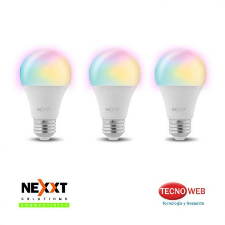 Pack De 3 Lamparas Smart Wifi de Colores Nexxt NHB-C120 9w RGB Dimerizable